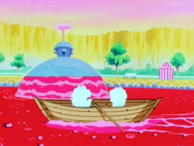 Spirits play on the pond aboard row boats!  From DBZ episode 13