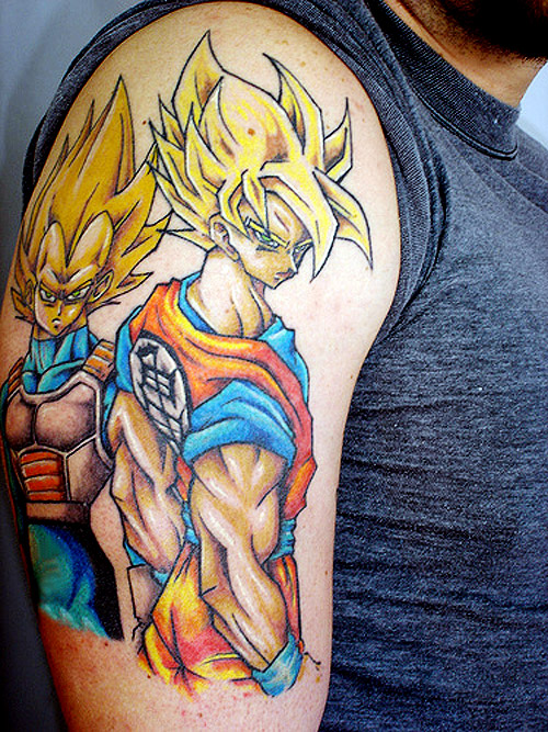 dragon ball tattoo goku vegeta super saiyan dbz