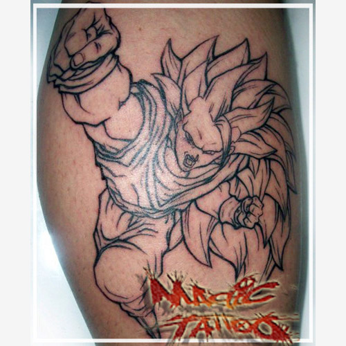 goku tattoo super saiyan 3 fist dbz