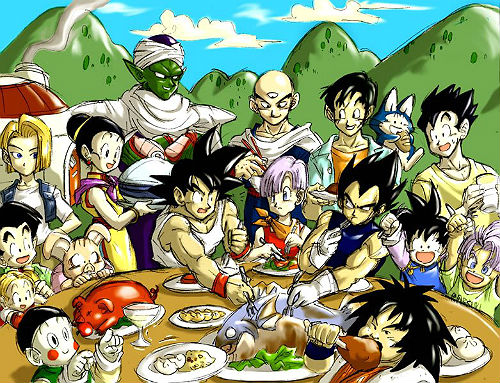 dragon ball cast eating food