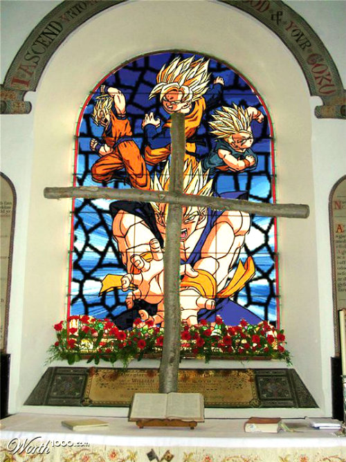 goku gohan church of goku gokuiism stained glass window dbz
