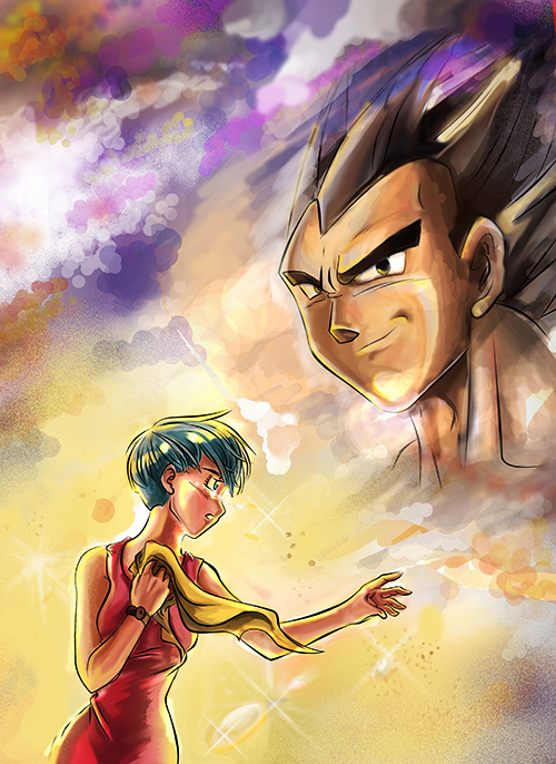 dragon ball art vegeta bulma dbz painting