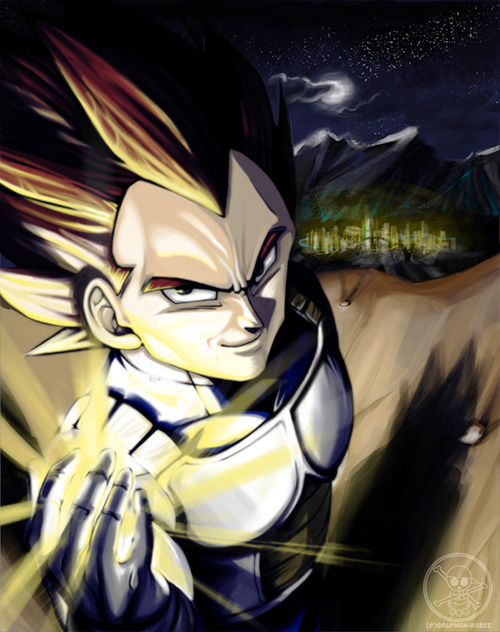 dragon ball art vegeta outdoors painting