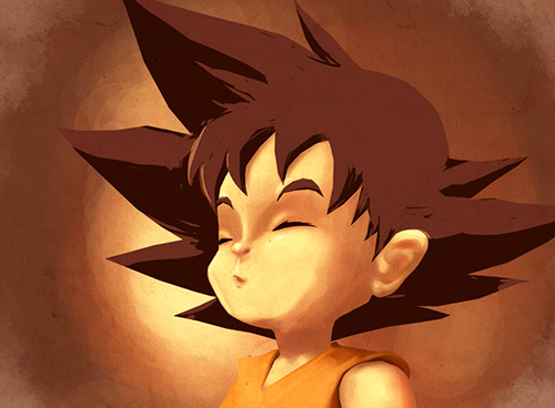 goku child painting dragon ball art