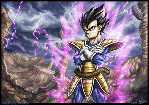 prince vegeta saiyan saga dbz painting