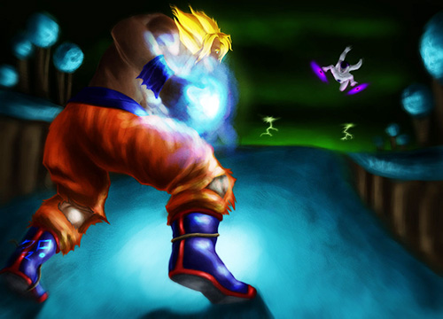 super saiyan goku fight freeza dragon ball painting