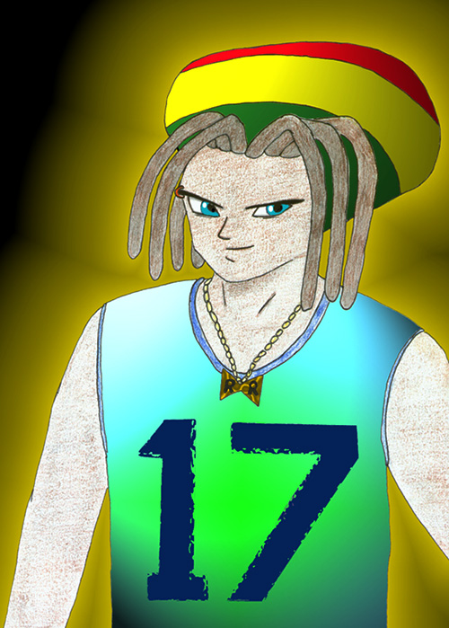black android 17 dragon ball z rastafarian