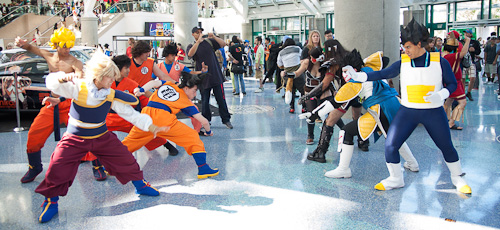 dragon ball cosplay anime expo goku versus saiyans