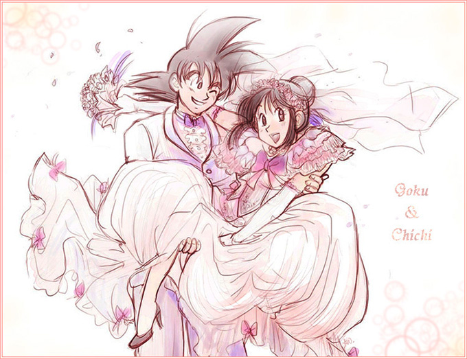goku chi-chi wedding dragon ball love