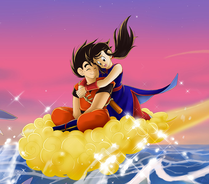 goku chi-chi flying nimbus kinto-un love
