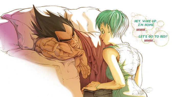 vegeta bulma sleep love dbz