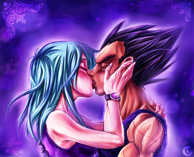 bulma kisses vegeta dbz love art