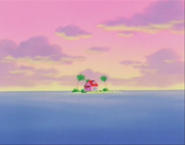 Kame House in the middle of the sea