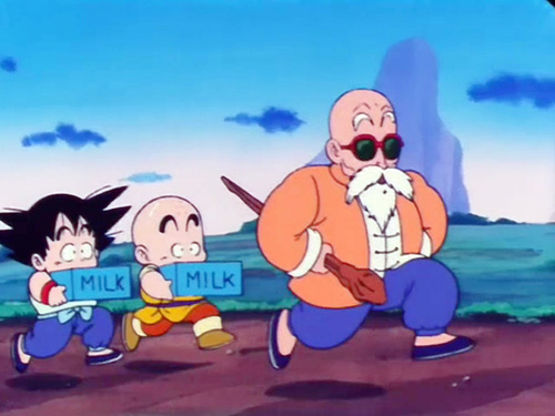 Goku Krillin and Master Roshi Training