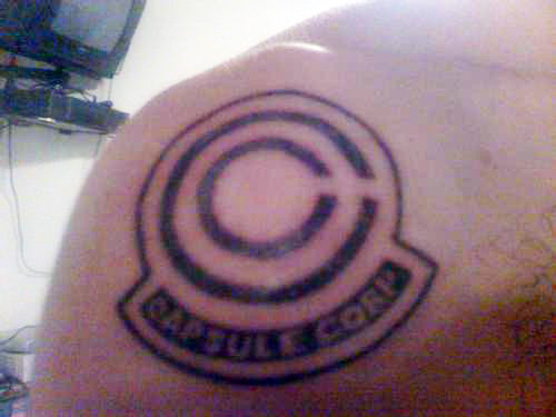 dragon ball tattoo capsule corp logo dbz