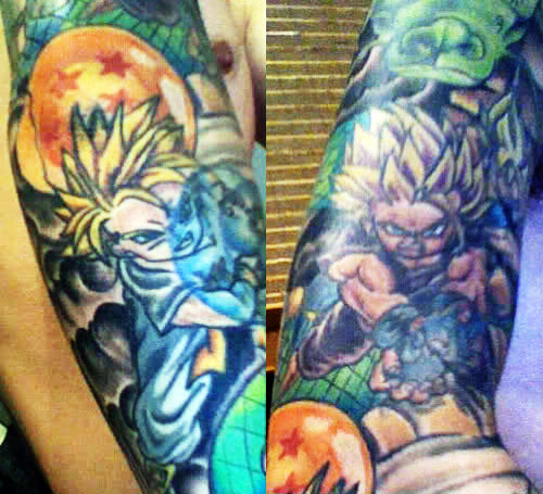 dragon ball tattoo gohan super saiyan 2 trunks super saiyan kamehameha