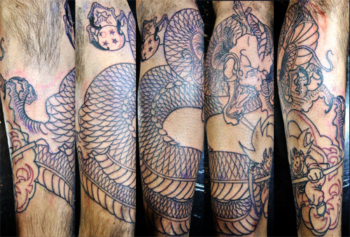 dragon ball tattoo shenron goku arm dbz