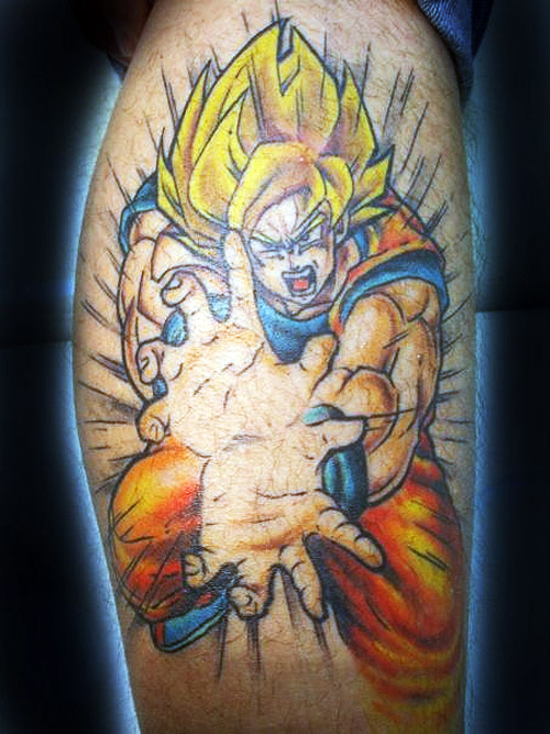 super saiyan goku kamehameha dragon ball tattoo dbz