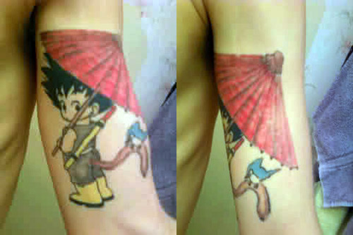 goku tattoo child bird umbrella dragon ball