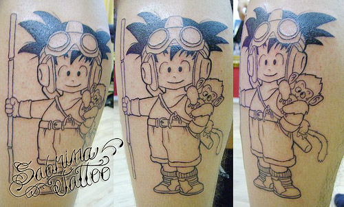 goku tattoo child goggles monkey dragon ball
