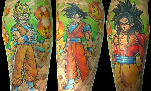 goku tattoo super saiyan 1 and super saiyan 4 dbz