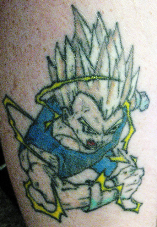 majin vegeta tattoo super saiyan 2 fly dbz