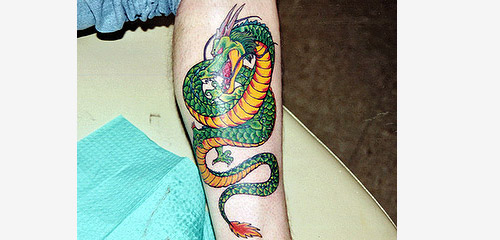 shenron dragon ball tattoo leg dbz