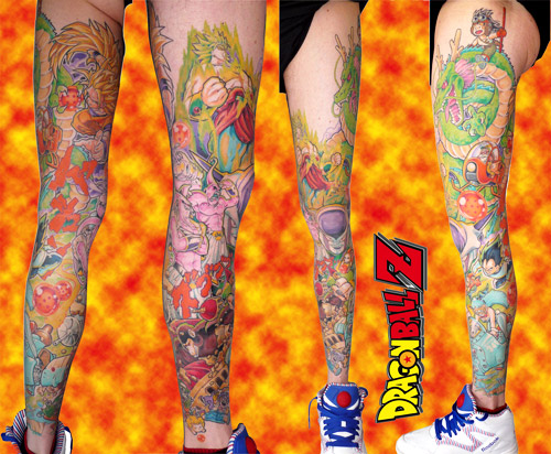 dragon ball tattoo z warriors leg dbz