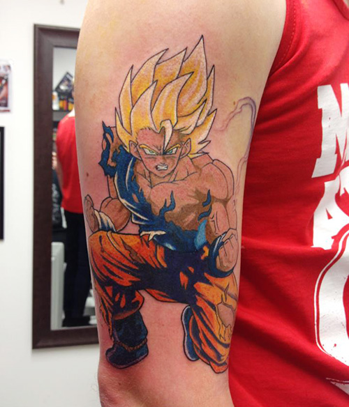 super saiyan goku tattoo dbz