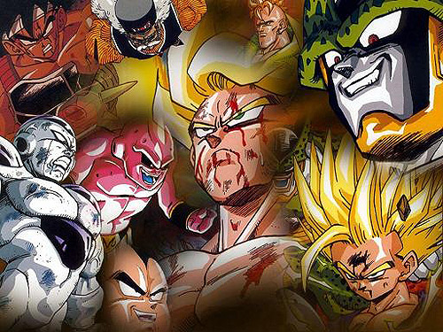 dragon ball z group shot villains goku gohan super saiyan