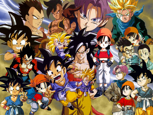 dragon ball gt group goku vegeta trunks pan uub