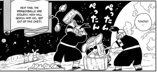 boss rabbit dragon ball making mochi cakes on the moon