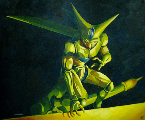 dragon ball art cell oil painting