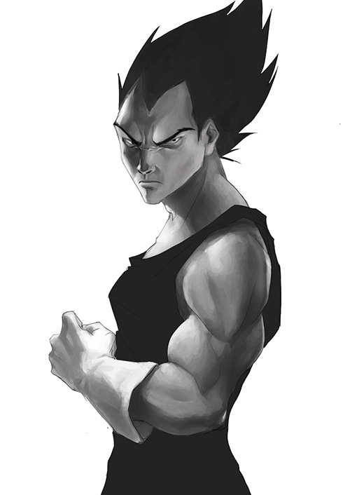 dragon ball art vegeta painting portrait