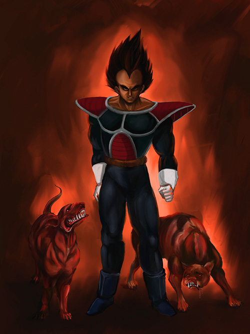 dragon ball art vegeta portrait digital painting dbz