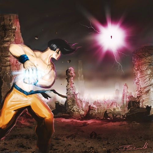 dragon ball digital goku battle vegeta fight kamehameha painting