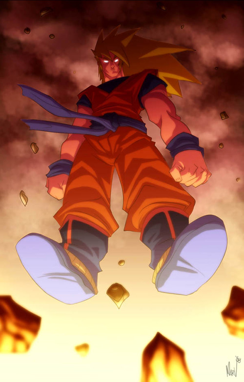 goku ascended dragon ball art painting