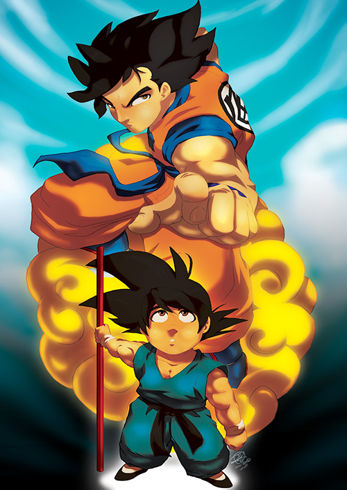 goku child adult dragon ball art painting