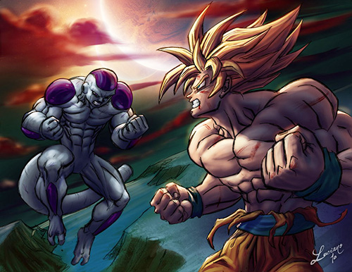 goku fight freeza dragon ball art painting
