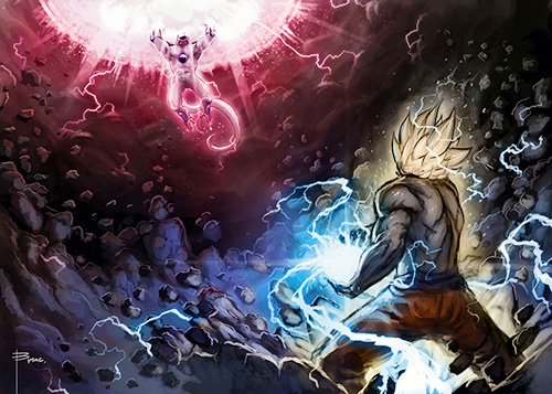 goku vs freeza dragon ball art painting