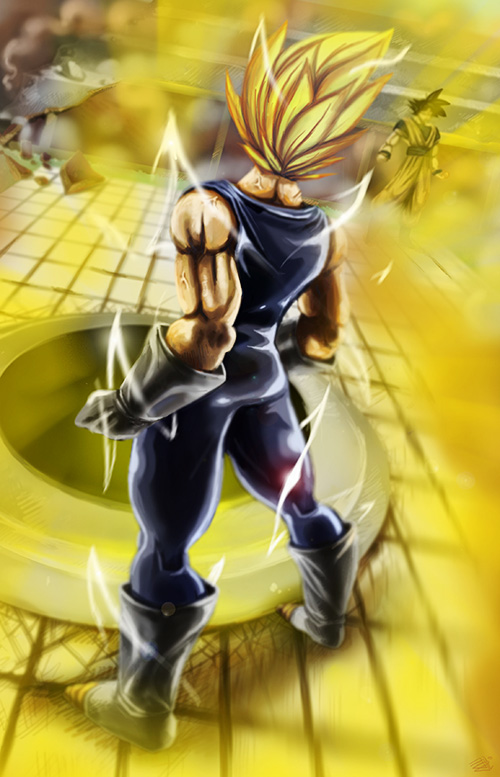 majin vegeta dragon ball art painting