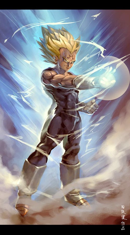 majin vegeta dragon ball painting dbz art