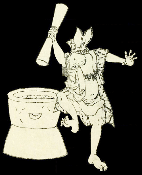rabbit making elixir in Japanese culture scroll