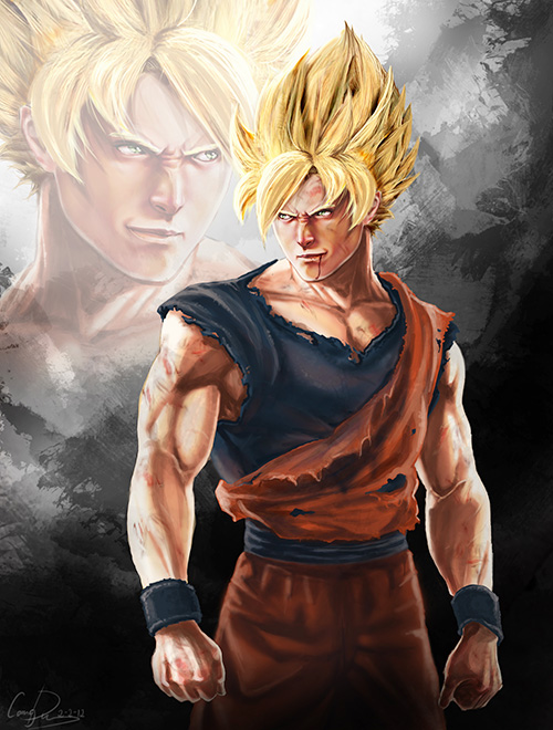 super saiyan goku digital painting portrait dragon ball art dbz