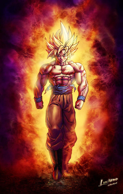 super saiyan goku flames aura dragon ball art painting