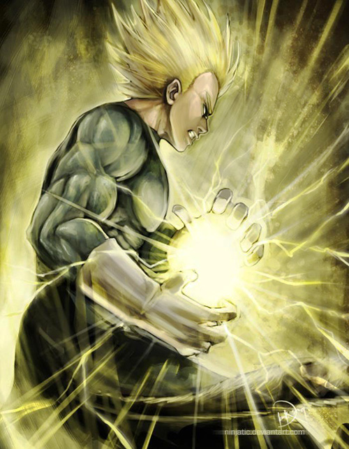 super saiyan vegeta painting dragon ball art