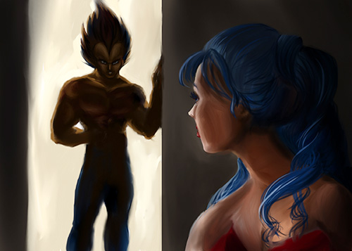 vegeta bulma love dragon ball art painting