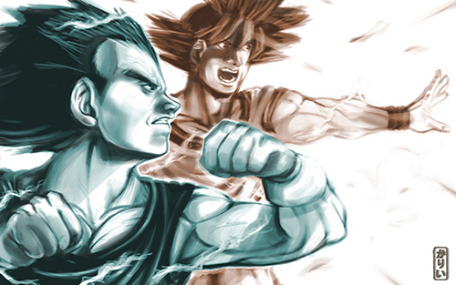 vegeta goku attack dragon ball art painting