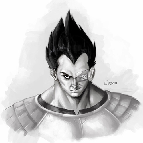 vegeta scouter over 9000 dbz art painting