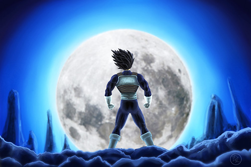 vegeta moon dragon ball art painting dbz
